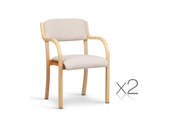 Set of 2 Fabric Dining Chair (White/Beige)