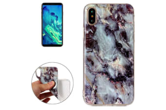 For iPhone XS X Back Case  Marble High-Quality Durable Protective Cover Brown