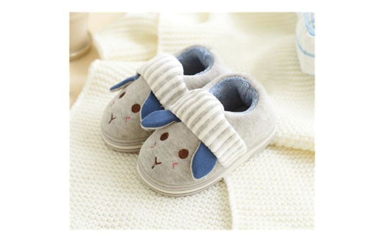 Unisex Cute Home Slippers Kid Fur Lined Winter House Slippers Warm Indoor Slippers - Grey Grey 14-15(13.5Cm Length)
