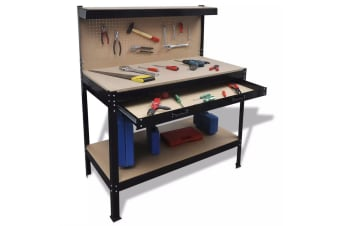 vidaXL Workbench with Pegboard and Drawer
