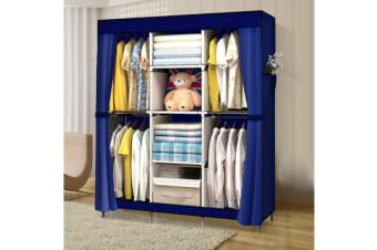 Large Portable Clothes Storage Organizer with Shelves vy Blue (EJ0134)