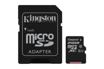 Kingston 256GB microSDHC Canvas Select 80Mb/s CL10 UHS-I Card with SD Adapter
