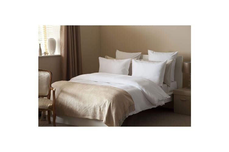 Belledorm Waffle Weave Cotton Cover Set (White) (King)