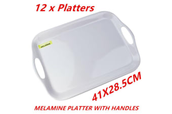 12 x Glossy White Rectangular Melamine Serving Trays w Handle Food Tray Platter 41CM
