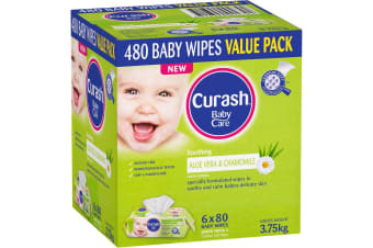 480PK Curash Babycare Aloe Vera & Chamomile Baby Wipes Dermatologically Tested