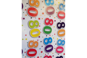 Simon Elvin 80th Birthday Gift Wraps (24 Sheets) (White/Multicoloured) (70 x 50cm)