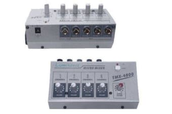 4 Channel Mini Professional Audio Microphone Mixer with master Control