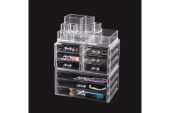 Cosmetic 7/8//9/10/11 Drawer Makeup Organizer Storage Jewellery Box Acrylic  -  9 Drawers(A)