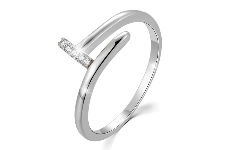 .925 Fiona Ring-Silver/Clear   Size US 7