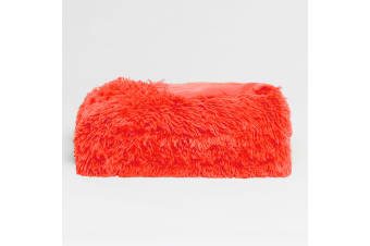 Long Hair Faux Fur Throw Rug Fusion Coral by Hotel Living