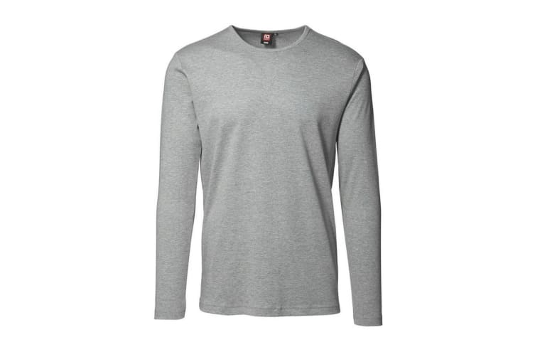 ID Mens Long Sleeve Slimline Fitted Interlock T-Shirt (Grey melange) (M)