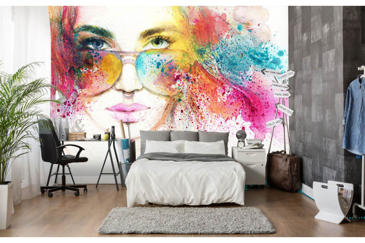 3D Color Glasses Girl 136 Wall Murals Woven paper (need glue), XL 208cm x 146cm (WxH)(82''x58'')