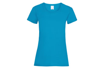 Womens/Ladies Value Fitted Short Sleeve Casual T-Shirt (Cyan) (Small)