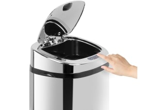 Devanti 50L Stainless Steel Bin Rubbish Motion Sensor Waste Automatic Home Trash Kitchen