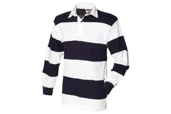 Front Row Sewn Stripe Long Sleeve Sports Rugby Polo Shirt (White & Navy (White collar)) (S)