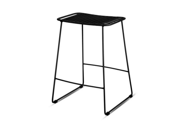 Set of 2 Rattan Flat Bar Stools (Black)