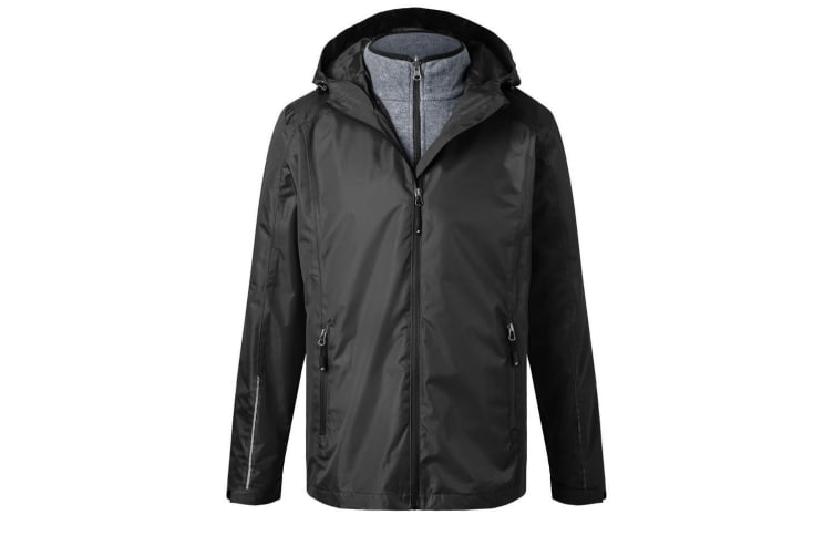 James and Nicholson Mens 3-in-1 Jacket (Black/Black) (S)