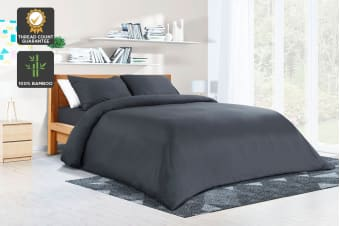 Ovela 400TC 100% Bamboo Quilt Cover Set (Charcoal)