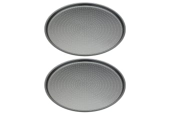 2PK Mastercraft 32cm Round Carbon Steel Crusty Bake Pizza Oven Baking Tray Plate