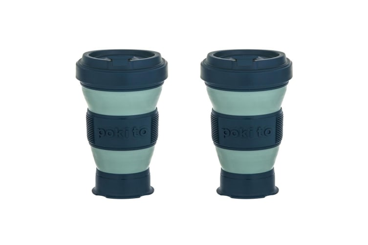2x Pokito 475ml Hot Cold Pop Up Cup Collapsible Reusable Travel Eco-Friendly GRN