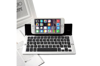 Foldable Bluetooth Keyboard V3.0 Aluminum Alloy For Iphone Android Tablet Pc Silver