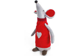 Standing Fabric Xmas Mouse Ornament (Red) (One Size)