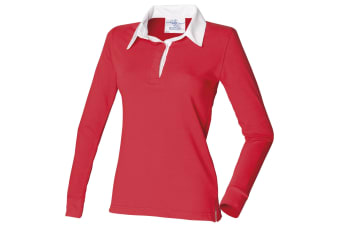 Front Row Womens/Ladies Long Sleeve Plain Sports Rugby Polo Shirt (Red/White)