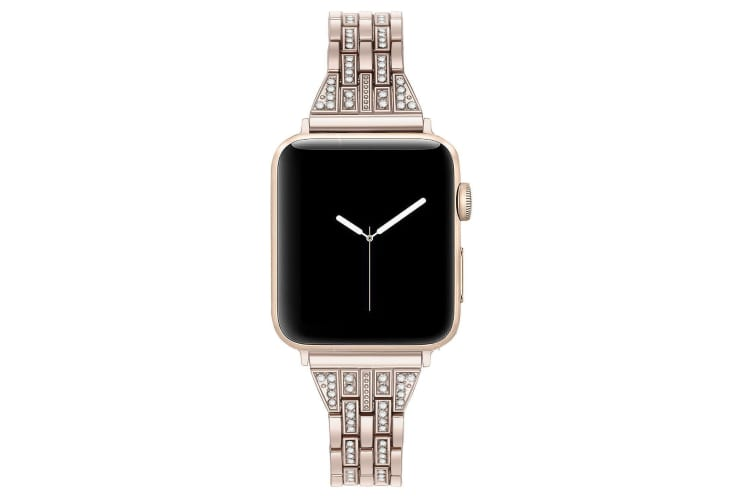 Compatible For Apple Watch Iwatch4 Stainless Steel Metal Five Beads Two Rows Of Diamond Strap,Replacement Strap-42mm-VINTAGE GOLD