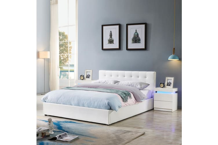 King Size Bed Frame PU Leather Gas Lift Storage Bed Base Wood Furniture - White