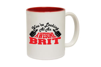 123T Funny Mugs - Brit Youre Looking Awesome - Red Coffee Cup
