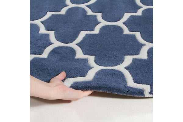Lattice Navy Blue Rug 225x155cm
