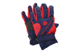 FLOSO Kids/Childrens Extra Warm Thermal Padded Ski Gloves With Palm Grip (Navy/Red)
