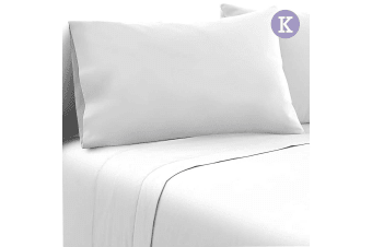 Giselle Bed Sheets King Microfiber Sheet 4Pc Bedding Set Fitted Flat White
