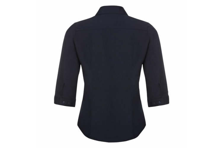 Russell Collection Ladies 3/4 Sleeve Poly-Cotton Easy Care Fitted Poplin Shirt (French Navy) (XS)
