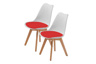 Replica Eames PU Padded Dining Chair - WHITE & RED X2