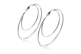 Duo Hammered Hoop Earrings-White Gold