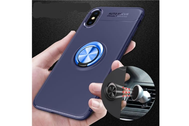 Iphone Xs Max Case,Heavy Duty Durable Soft Tpu Protective Case With Rotation Ring Kickstand Black Rosegold Iphone7P-8P