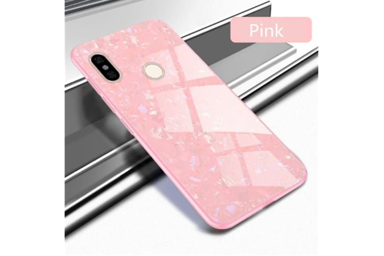 Shiny Seashell Pattern Tempered Glass Hard Back Cover Shell For Xiaomi Pink Xiaomi 6X