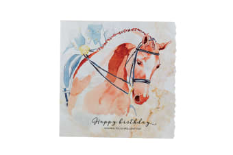 Deckled Edge Fanciful Dolomite Greetings Card (Happy Birthday - Dressage Horse (Multicoloured))