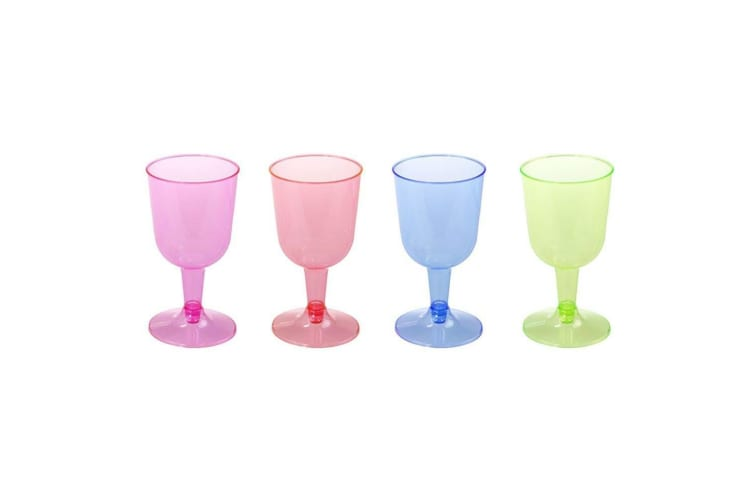 72 x 150ml Colored Disposable Plastic Wine Cups Wedding Party Glass Function