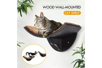 Wood Cat Wall-Mounted Shelf Curve Design for Climbing Jumping Perching Cat Furniture