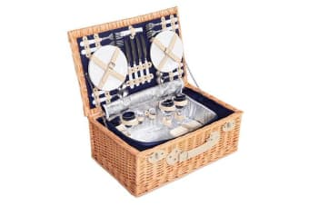 4 Person Picnic Basket with Cooler Bag (Blue)