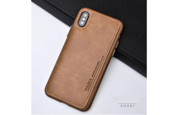 Retro Pu Flip Leather Wallet Case Card Slot Holder Cover Khaki for Iphone Xr