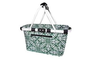 Sachi 49cm Collapsible Foldable Picnic Shopping Carry Basket Bohemian Green