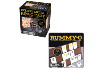 2pc Cardinal Classic Rummy O Family Game w/ Tin Storage/Deluxe Metal Cage Bingo