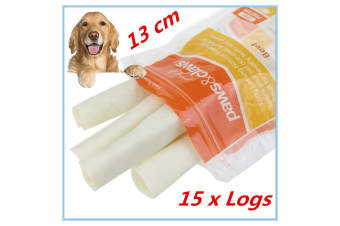 15 NATURAL BEEF RAWHIDE LOGS STICKS CHEWS LONG LASTING DOG TREAT ADULT PUPPY FD