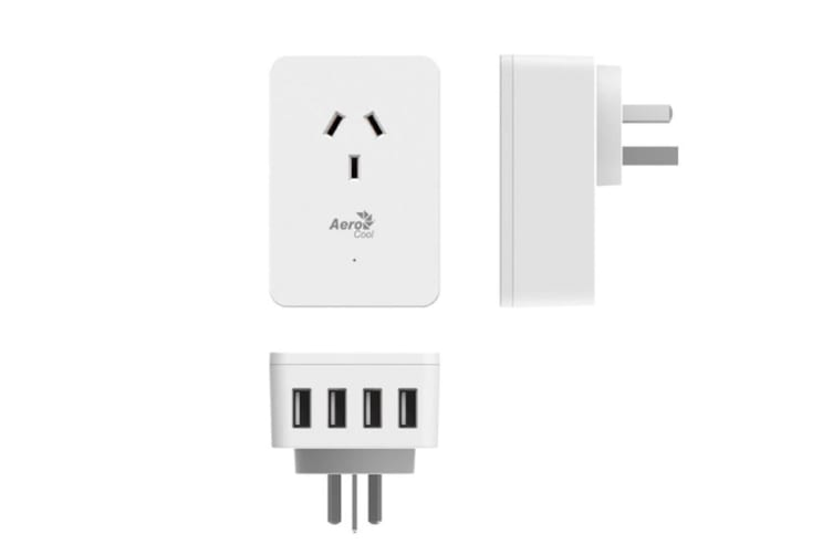 Aerocool ASA ST1A4U2 Wall-Mounted with 1 AC Outlet and 4 USB Charging Ports, 5V/2.4A