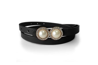Leather Belt With Pearls & Crystals Black-Leather/Black