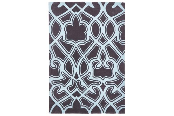 Gothic Tribal Design Rug Smoke Grey and Blue 320x230cm