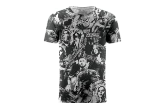 Marvel Avengers Infinity War Cast Characters Wallpaper Graphic T-Shirt (White)
